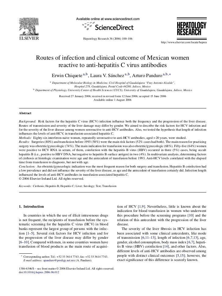 Hepatology Research 36 (2006) 100–106                Routes of infection and clinical outcome of Mexican women            ...