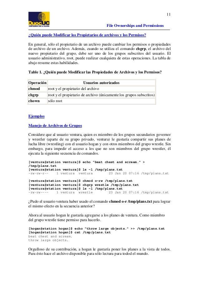 11 File Ownerships and Permissions ¿Quién puede Modificar los Propietarios de archivos y los Permisos? En general, sólo el...