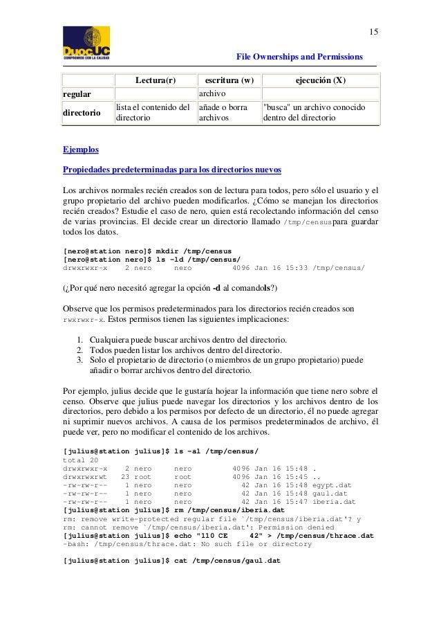 15 File Ownerships and Permissions Lectura(r)  ejecución (X)  archivo  regular directorio  escritura (w)  lista el conteni...