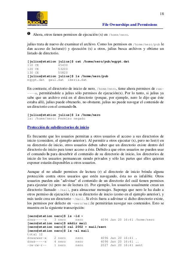18 File Ownerships and Permissions Ahora, otros tienen permisos de ejecución (x) en /home/nero. julius trata de nuevo de e...