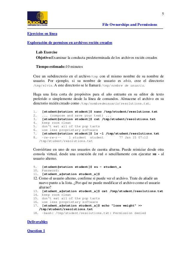 5 File Ownerships and Permissions Ejercicios en línea Exploración de permisos en archivos recién creados Lab Exercise Obje...