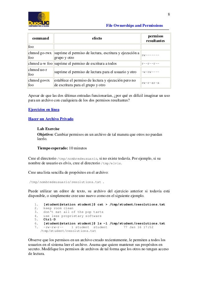 8 File Ownerships and Permissions command  permisos resultantes  efecto  foo chmod go-rwx suprime el permiso de lectura, e...
