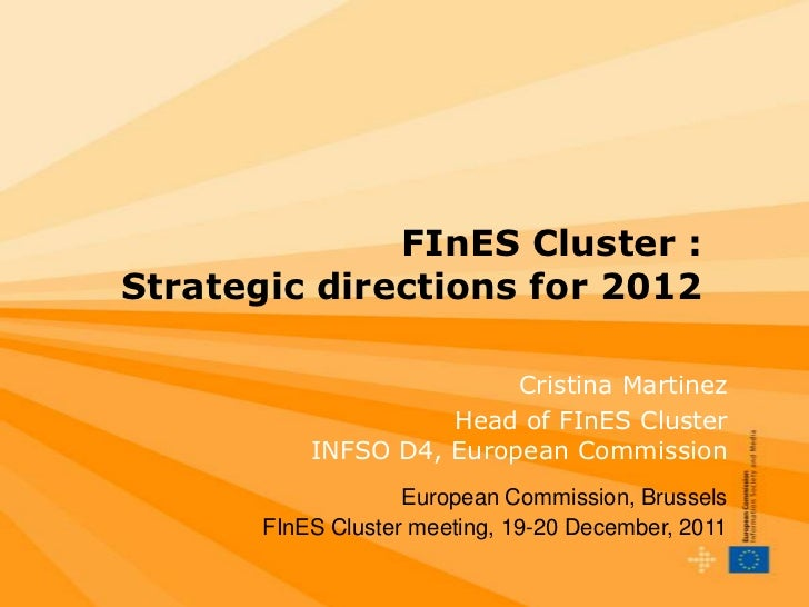 FInES Cluster :Strategic directions for 2012                          Cristina Martinez                     Head of FInES ...