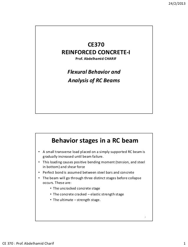 Lec03 Flexural Behavior of RC Beams (Reinforced Concrete