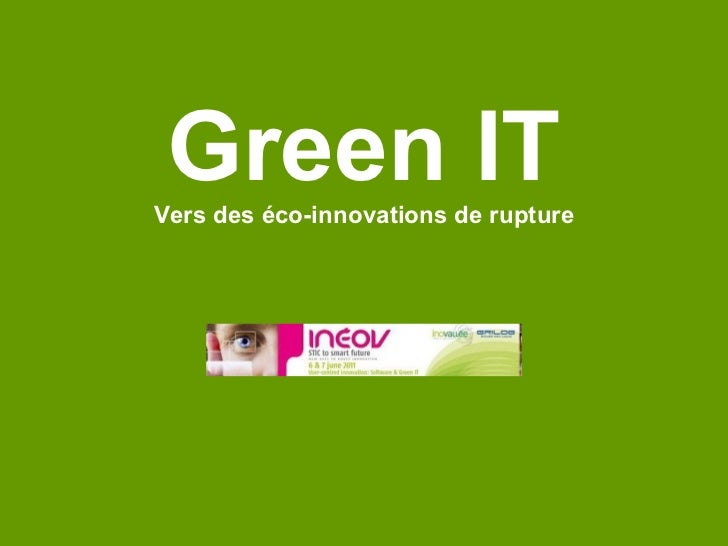 Green IT Vers des éco-innovations de rupture Logo