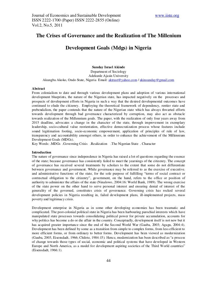 Journal of Economics and Sustainable Development                                       www.iiste.orgISSN 2222-1700 (Paper)...