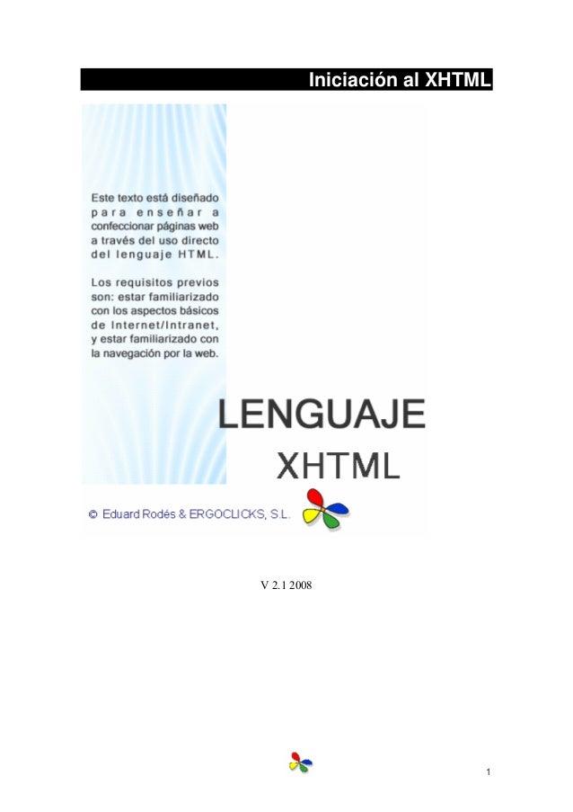 1 Iniciación al XHTML V 2.1 2008