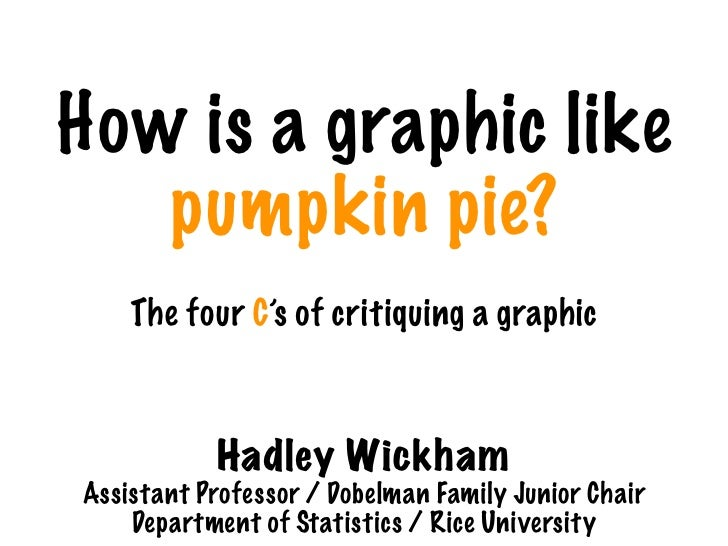 How is a graphic like    pumpkin pie?     The four C's of critiquing a graphic                Hadley Wickham Assistant Pro...