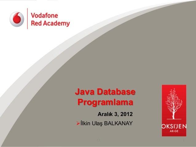 Java Database Programlama          Aralık 3, 2012Øİlkin Ulaş BALKANAY        C1           1