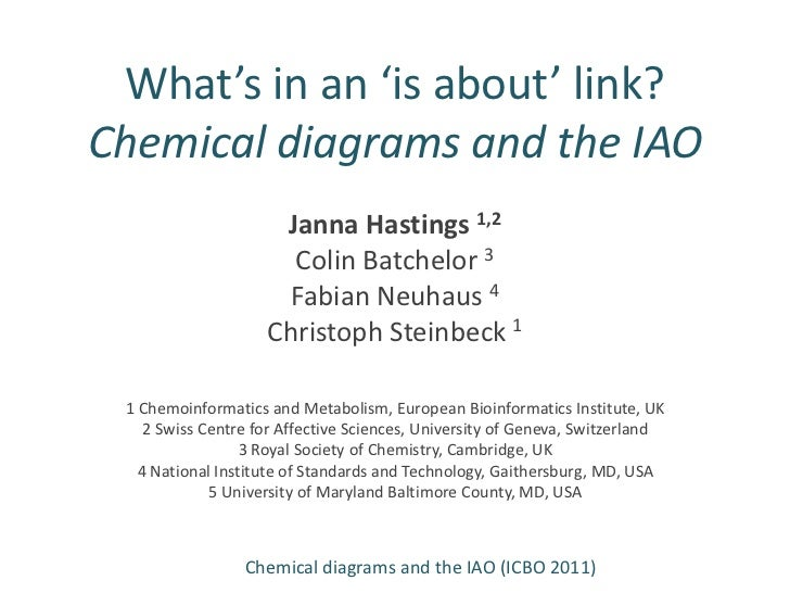 What's in an 'is about' link?Chemical diagrams and the IAO<br />Janna Hastings 1,2<br />Colin Batchelor3<br />FabianNeuhau...