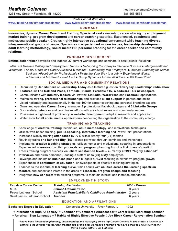4 Heather Training Social Media Resume Sample