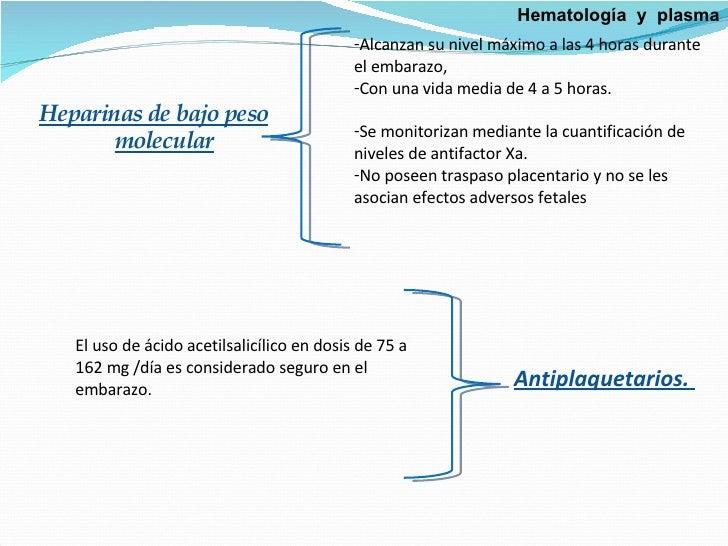 <ul><li>Heparinas de bajo peso molecular </li></ul><ul><li>Alcanzan su nivel máximo a las 4 horas durante el embarazo,  </...