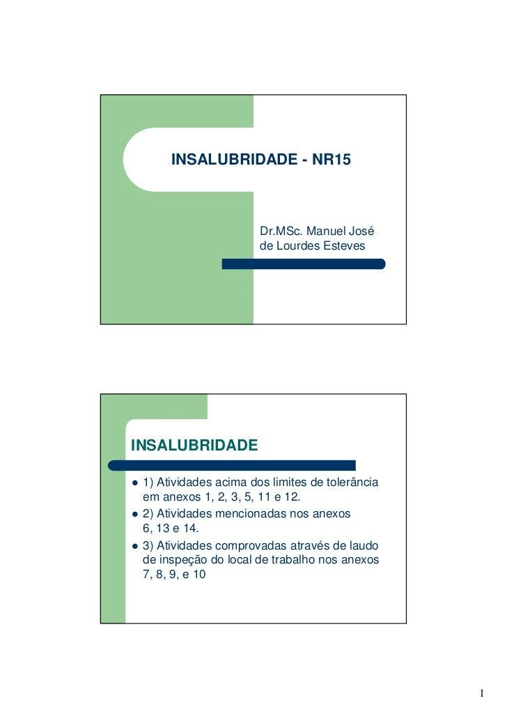 INSALUBRIDADE - NR15                       Dr.MSc. Manuel José                       de Lourdes EstevesINSALUBRIDADE 1) At...