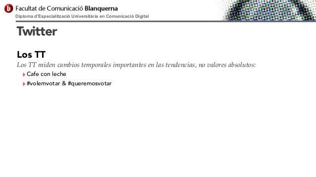 Diploma d'Especialització Universitària en Comunicació Digital  Twitter Los TT Los TT miden cambios temporales importantes...