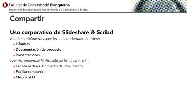 Diploma d'Especialització Universitària en Comunicació Digital  Compartir Uso corporativo de Slideshare & Scribd Fundament...