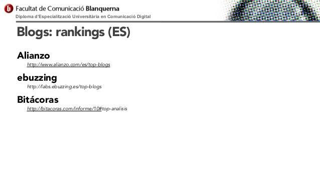 Diploma d'Especialització Universitària en Comunicació Digital  Blogs: rankings (ES) Alianzo  http://www.alianzo.com/es/to...
