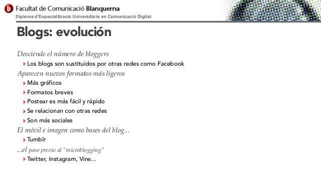 Diploma d'Especialització Universitària en Comunicació Digital  Blogs: evolución Desciende el número de bloggers  ‣ Los bl...