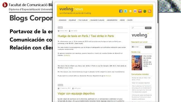 Diploma d'Especialització Universitària en Comunicació Digital  Blogs Corporativos Portavoz de la empresa Comunicación cor...