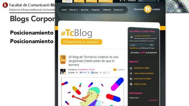 Diploma d'Especialització Universitària en Comunicació Digital  Blogs Corporativos Posicionamiento de la empresa Posiciona...