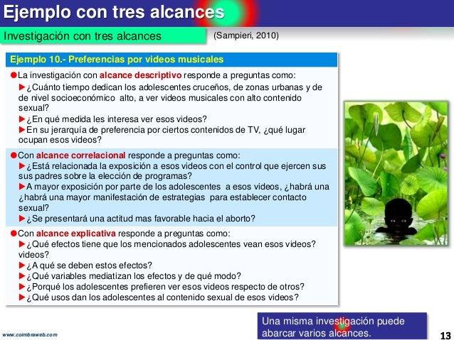 Ejemplo con tres alcances 13www.coimbraweb.com Investigación con tres alcances (Sampieri, 2010) Una misma investigación pu...