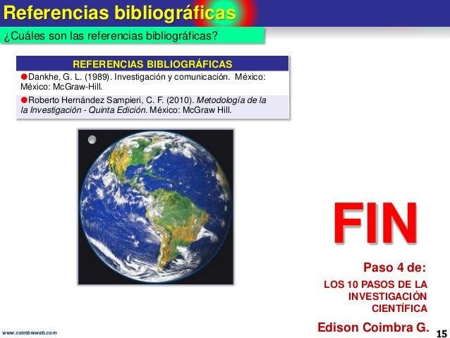 Referencias bibliográficas 15www.coimbraweb.com ¿Cuáles son las referencias bibliográficas? REFERENCIAS BIBLIOGRÁFICAS Da...