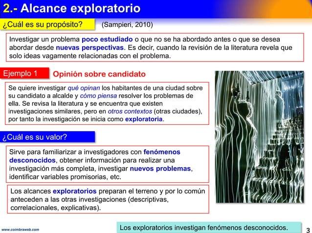 1.- ALCANCE DE LA INVESTIGACIÓN 3www.coimbraweb.com Es el Paso 4 de la investigación científica Llevan al Permite visualiz...