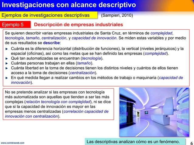 Ejemplos con alcance exploratorio 6www.coimbraweb.com Determinan tendencias, identifican escenarios Los exploratorios inve...
