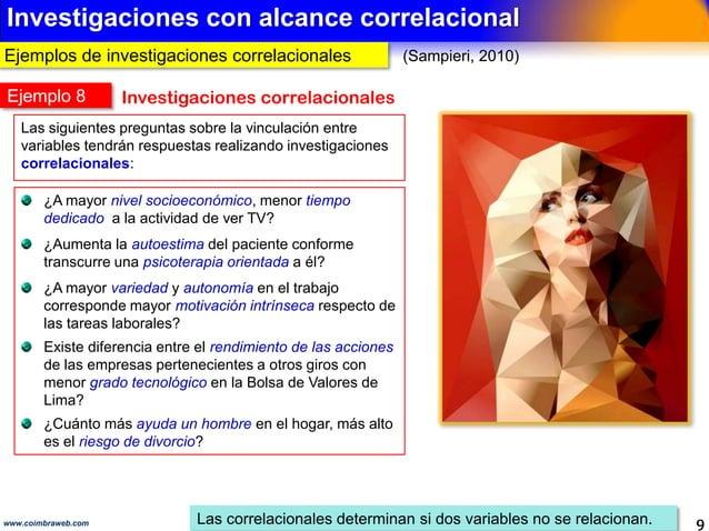 Ejemplos con alcance descriptivo 9www.coimbraweb.com Analizan cómo es un fenómeno (Sampieri, 2010) Los descriptivos solo m...