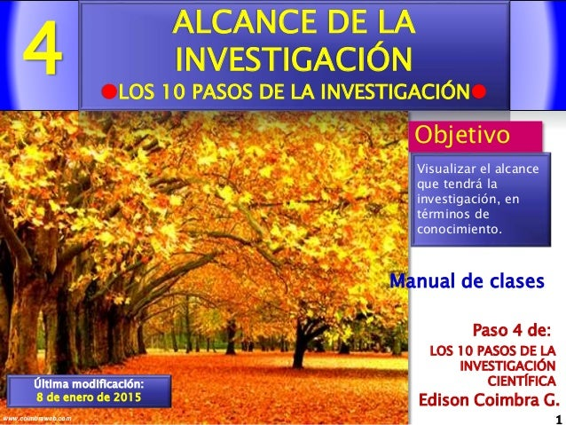4 1www.coimbraweb.com Edison Coimbra G. LOS 10 PASOS DE LA INVESTIGACIÓN CIENTÍFICA Paso 4 de: Manual de clases ALCANCE DE...