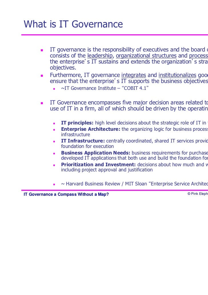 six principles of it governance Iso/iec 38500:2015 provides guiding principles for members of governing bodies of organizations (which can comprise owners, directors, partners, executive managers.
