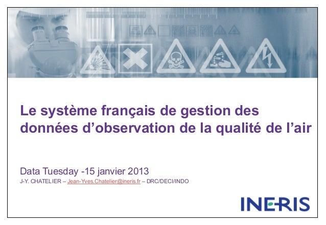 Le système français de gestion desdonnées d'observation de la qualité de l'airData Tuesday -15 janvier 2013J-Y. CHATELIER ...