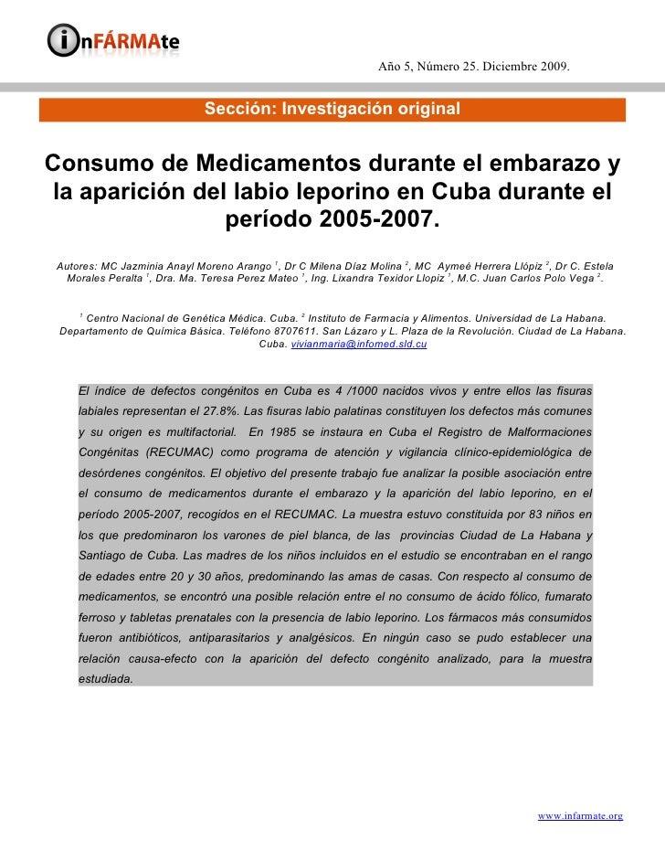 Año 5, Número 25. Diciembre 2009.                                 Sección: Investigación original   Consumo de Medicamento...