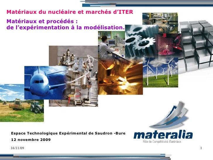 16/11/09 Matériaux du nucléaire et marchés d'ITER Matériaux et procédés : de l'expérimentation à la modélisation. Espace T...