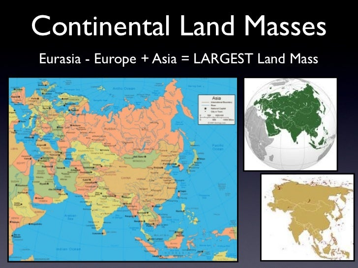 Continental Land MassesEurasia - Europe + Asia = LARGEST Land Mass