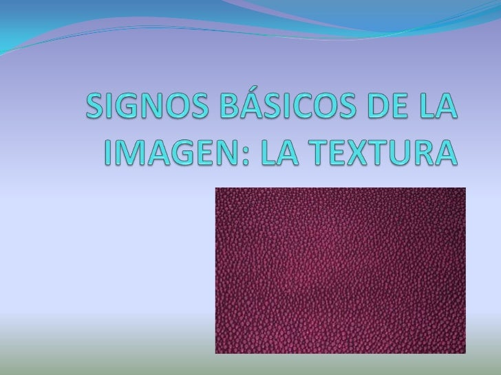 SIGNOS BÁSICOS DE LA IMAGEN: LA TEXTURA<br />