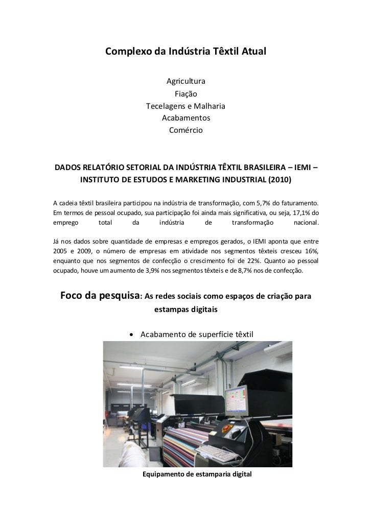 Complexo da Indústria Têxtil Atual                                      Agricultura                                       ...