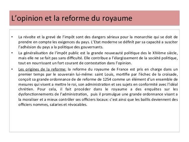 L'opinion et la reforme du royaume • La révolte et la grevé de l'impôt sont des dangers s...