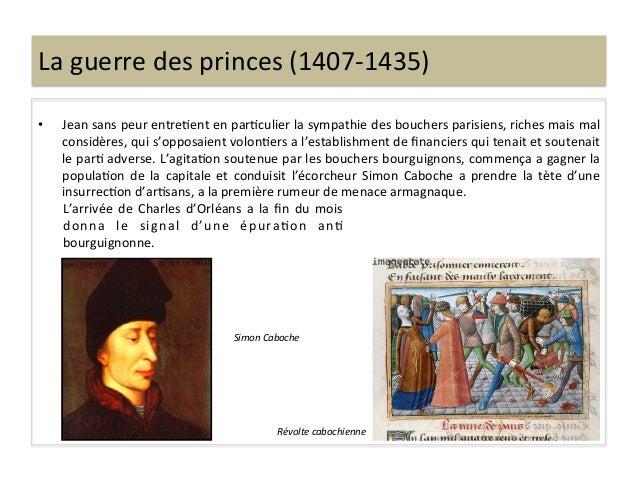 La guerre des princes (1407-‐1435) • Jean sans peur entreLent en parLculier la sympathie des ...