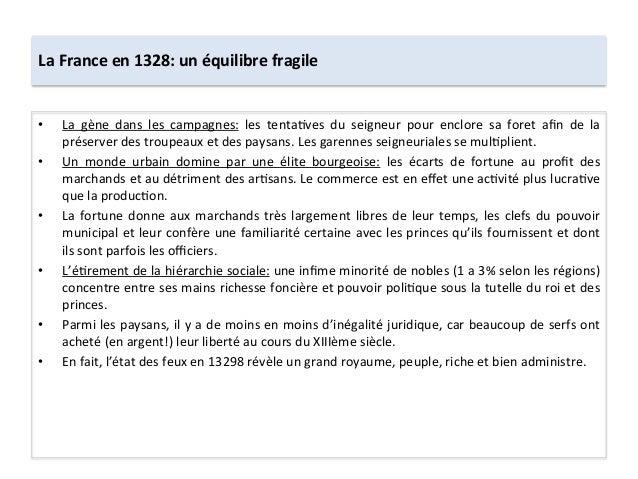 La France en 1328: un équilibre fragile • La  gène  dans  les  campagnes:  les  tentaLves  du...