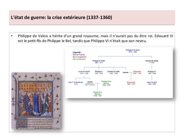 L'état de guerre: la crise extérieure (1337-‐1360) • Philippe de Valois a hérite d'un grand ...