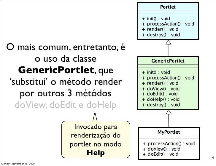 O mais comum, entretanto, é           o uso da classe       GenericPortlet, que    'substitui' o método render       por o...