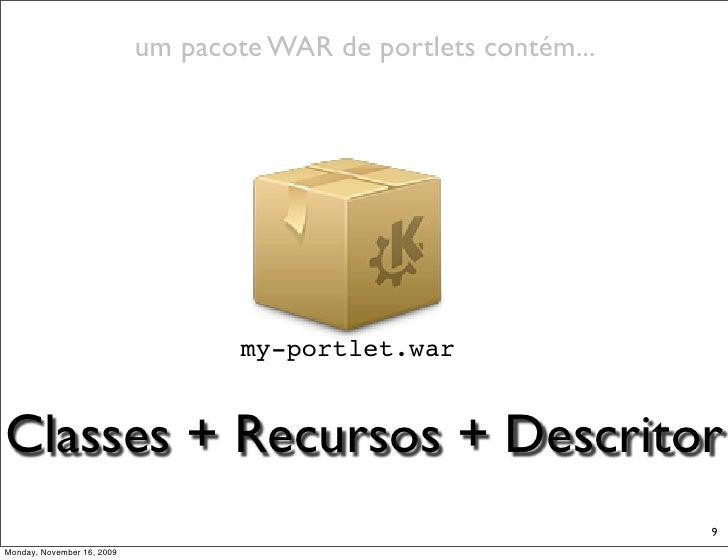 um pacote WAR de portlets contém...                                         my-portlet.war   Classes + Recursos + Descrito...