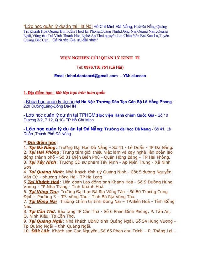 *Lớp học quản lý dự án tại Hà Nội,Hồ Chí Minh,Đà Nẵng, Huế,Đà Nẵng,QuảngTrị,Khánh Hòa,Quảng Bình,Cần Thơ,Hải Phòng,Quảng N...