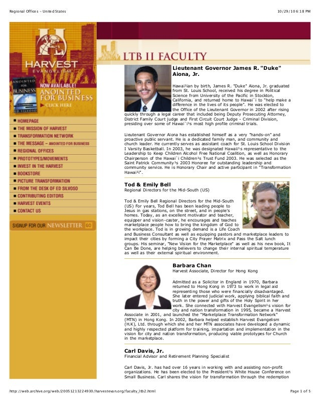 10/29/10 6:18 PMRegional Offices - United States Page 1 of 5http://web.archive.org/web/20051213224930/harvestevan.org/facu...