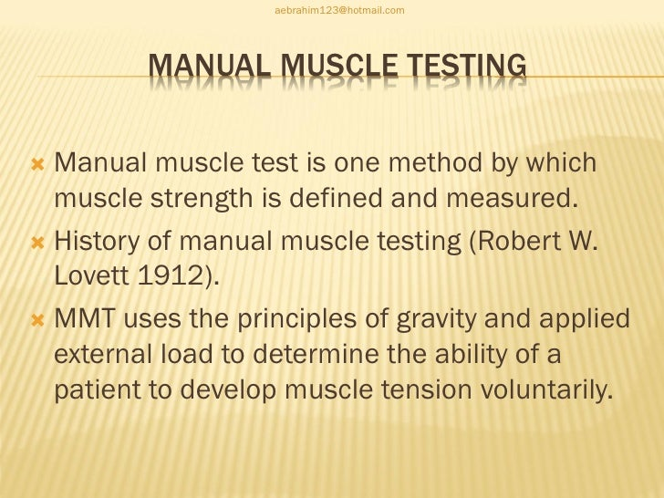 4 manual muscle testing in pediatric patient rh slideshare net reliability of manual muscle tests Manual Muscle Testing Chart