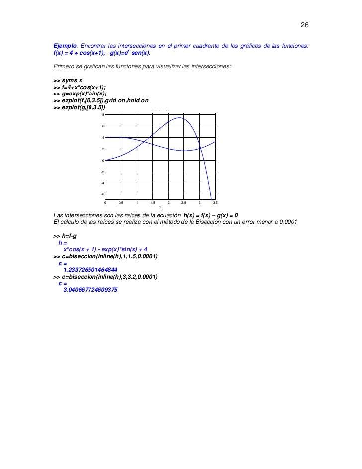 26Ejemplo. Encontrar las intersecciones en el primer cuadrante de los gráficos de las funciones:                          ...