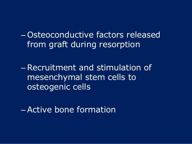 – Osteoconductive factors released from graft during resorption – Recruitment and stimulation of mesenchymal stem cells to...