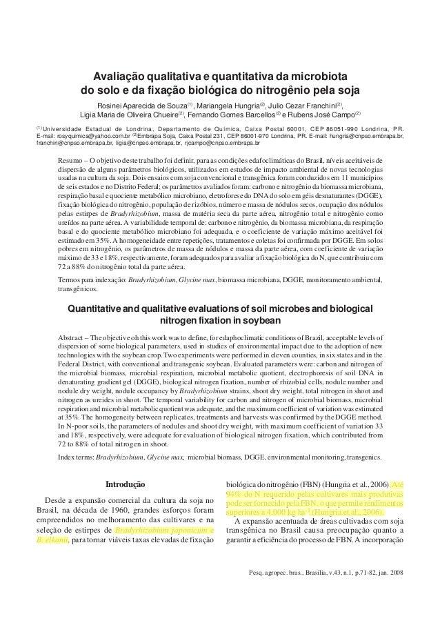 Pesq. agropec. bras., Brasília, v.43, n.1, p.71-82, jan. 2008Avaliação qualitativa e quantitativa da microbiota do solo 71...