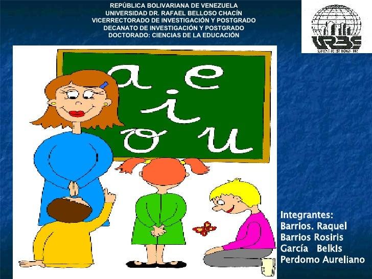 Integrantes: Barrios. Raquel Barrios Rosiris  García  Belkis Perdomo Aureliano REPÚBLICA BOLIVARIANA DE VENEZUELA UNIVERSI...