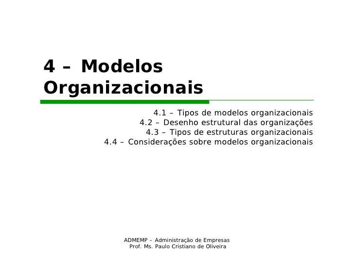 4 – ModelosOrganizacionais                 4.1 – Tipos de modelos organizacionais             4.2 – Desenho estrutural das...